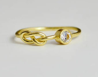 14k Gold CZ Diamond Infinity Ring, 14k Gold Ring, Stackable Rings, Mother's Ring, April Birthstone, Gold Infinity Ring, Gold Knot Ring
