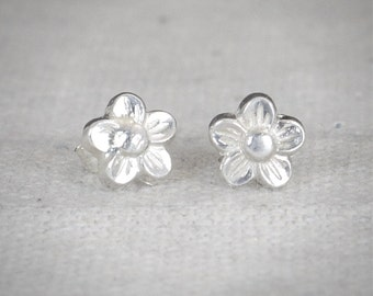 Flower Stud Earrings, Sterling Flower Earrings, Silver Stud Earrings, Simple Earrings, Flower Girl Gift, Flower Girl Earrings,Flower Jewelry
