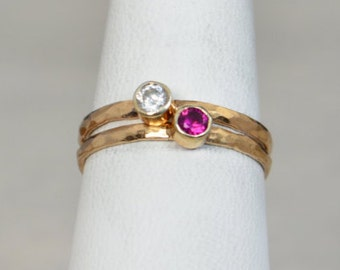 Grab 2 Classic 14k Rose Gold Filled Birthstone Ring, Gold solitaire, solitaire ring, 14k Rose gold filled, Birthstone, Mothers Ring, band