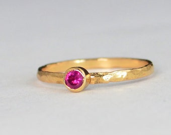 Classic Solid 14k Rose Gold Ruby Ring, 3mm Solitaire, Solitaire, Real Gold, July Birthstone, Mothers Ring, Solid Rose Gold, band