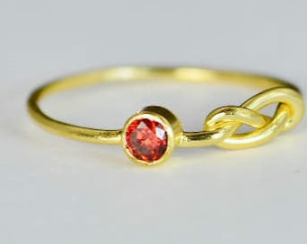 14k Gold Garnet Infinity Ring, 14k Gold Ring , Stackable Rings, Mother's Ring, January Birthstone Ring, Gold Infinity Ring, Gold Knot Ring