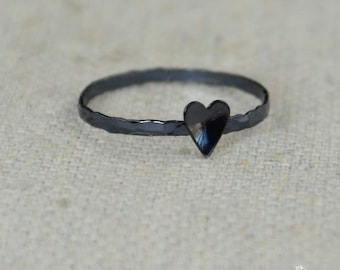 Tiny Gunmetal Heart Ring, Sterling Silver, Gunmetal Ring, Personalized Heart Ring, Goth Ring, Initial Heart Ring, Initial Ring, BFF Ring