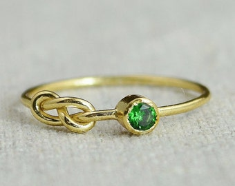 Emerald Infinity Ring, Gold Filled Ring, Stackable Rings, Mother's Ring, May Birthstone, Gold Infinity Ring, Gold Knot Ring