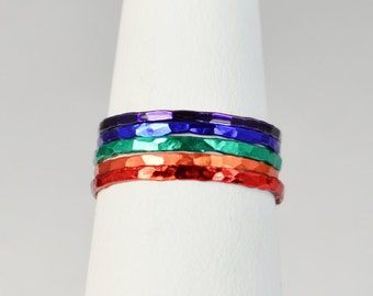Set of 5 Super Thin Rainbow Rings, Pride Ring, Rainbow Jewelry, Pride Fashion, Ring Set, Stack Ring, Stacking Ring, Stackable Ring, Alari