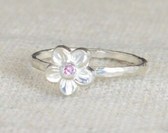 Small Flower Pink Tourmaline Ring, Silver Pink Ring, Flower Ring, Forget Me Not, Flower Jewelry, Sterling Flower Ring, Pink floral ring