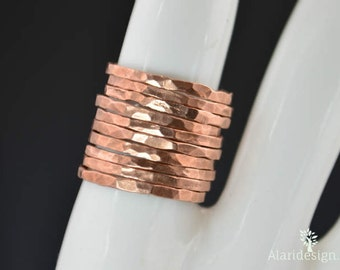 Classic Copper Stacking Ring, Stack Ring, Copper Band, Stacking Ring, Copper Ring, Hammered Ring, Arthritis Ring, Stack Ring, Stackable Ring