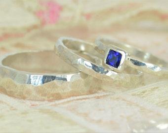 Square Sapphire Engagement Ring, Sterling Silver, Sapphire Wedding Ring Set, Rustic Wedding Ring Set, September Birthstone Sterling Sapphire