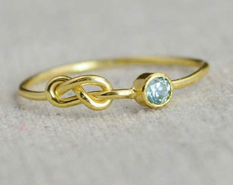 Gold Aquamarine Infinity Ring, Gold Filled Ring, Stackable Rings, Mother's Ring, March Birthstone, Gold Infinity Ring, Gold Knot Ring