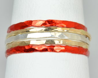 Kansas City Chiefs Team Color Ring Set, Sterling Silver, Ceramic Color, Sport Inspired, Stacking Ring Set, Red Rings, Dainty Rings, Team
