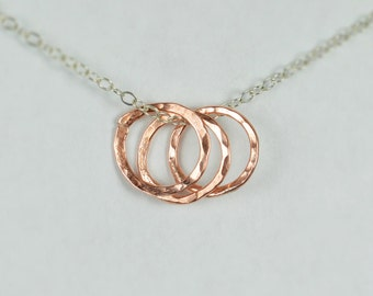 Dainty Hammered Circle Necklace, Silver Necklace, Copper Ring Necklace, Copper Ring Necklace, Dainty Necklace, Best Friends Necklace, mom's