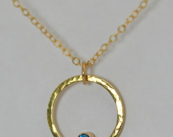 14k Gold Filled Blue Zircon Necklace, Mothers Necklace, Mom Necklace, December Birthstone Necklace, Blue Zircon Necklace, Blue Zircon