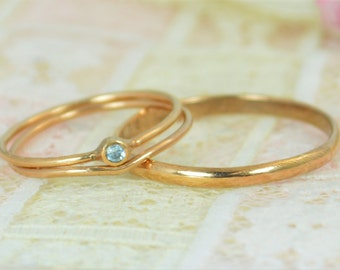 Tiny Aquamarine Ring Set, Solid 14k Rose Gold Wedding Set, Aquamarine Stacking Ring, Gold Aquamarine Ring, March Birthstone, Bridal Set