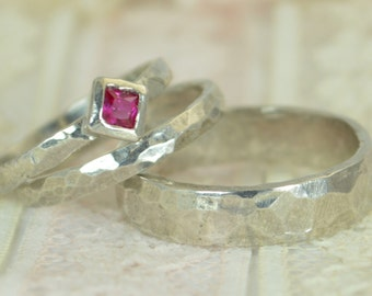 Square Ruby Engagement Ring, 14k White Gold, Ruby Wedding Ring Set, Rustic Wedding Ring Set, July Birthstone, Solid Gold, Gold Ruby Ring