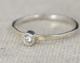 Classic Sterling CZ Diamond Ring, 3mm Silver solitaire, White Ring, Silver jewelry, April Birthstone, Mothers RIng, Silver band, Silver Ring