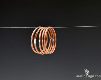 Set of 5 Super Thin Copper Rings, Copper Ring, Stackable Ring, Stacking Ring, Hammered Rings, Copper Band, Arthritis Ring, Stack Ring, Alari