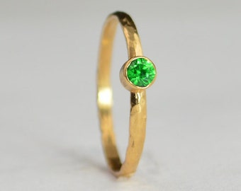 Classic Solid 14k Rose Gold Emerald Ring, Emerald Solitaire, Emerald Ring, Solid Gold, May Birthstone, Mothers Ring, Solid Rose Gold