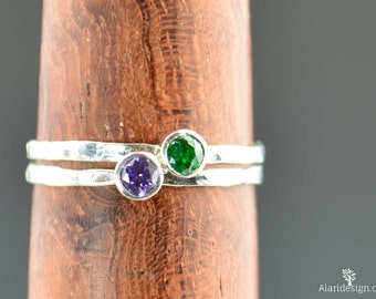 Grab 2 Mothers Rings, Silver Ring, Birthstone Mothers Ring, Mothers Ring, Mommy Rings, Mothers Jewelry, Gift for Mom, Stackable, Stacking