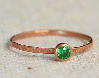 Copper Emerald Ring, Dainty Ring, Hammered Ring, Emerald Ring, May Birthstone Ring, Copper Ring, Alari, Stacking Ring, Dainty Copper Ring