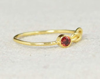Gold Garnet Infinity Ring, Gold Filled Ring, Stackable Rings, Mother's Ring, January Birthstone Ring, Gold Infinity Ring, Gold Knot Ring