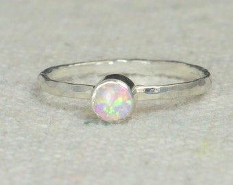 Small Silver Opal Ring, Opal Ring, Pink Opal Ring, Mothers Ring, Opal Jewelry, Stacking Ring, October Birthstone Ring