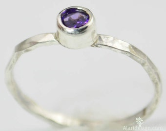 Small Amethyst Ring, Mothers Ring, Hammered Silver, Stackable Rings, Mother's Ring, February Birthstone Ring, Skinny Ring, Stack Ring