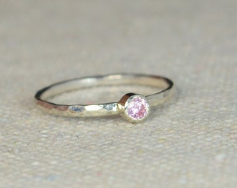 Classic Sterling Silver Pink Tourmaline Ring, 3mm Silver solitaire, Pink Ring, Silver jewelry, October Birthstone, Mothers RIng, Silver band
