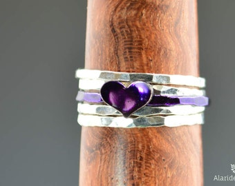 Purple Heart Ring, Sterling Silver, Stacking Ring, Personalized Heart Ring, Purple Ring, Initial Heart Ring, Initial Ring, BFF Ring, Violet