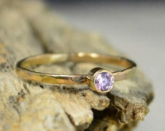Classic Solid 14k Gold Pink Tourmaline Ring, 3mm gold solitaire, solitaire ring, real gold, October Birthstone, Mother Ring, Solid gold band