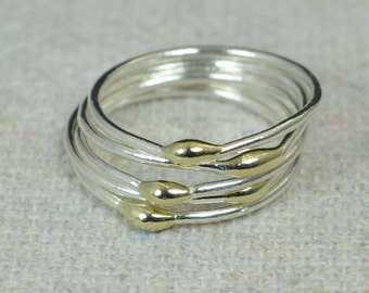 Unique Silver and Solid 14k Gold Stacking Ring(s),Silver Rings,Hippie Rings, Boho Rings, Dew Drop Rings, Thin Silver Ring, bohemian rings