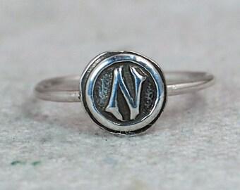 Bohemian, Letter N Ring, Silver N Ring, Initial Ring, Monogram Ring, Letter N, Stacking Initial Ring, Letter Ring, Sterling Silver, N Ring
