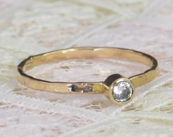 Natural Diamond Engagement Ring, 14k Gold, Diamond Wedding Ring Set, Rustic Wedding Ring Set, April Birthstone, Solid 14k Diamond Ring