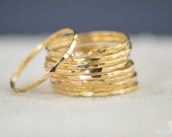 Gold Stack Ring, Gold Ring, Stack Ring, Thin Gold Ring, 14k Gold Ring, Simple Gold Ring, Stack Gold Ring, Gold Hammered Ring, Dainty, Gold