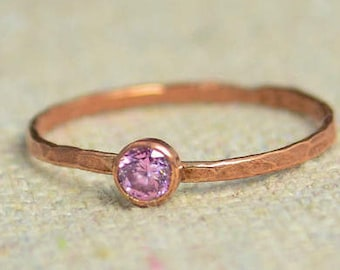 Dainty Copper Pink Tourmaline ring, copper mothers ring, copper ring, copper stacking ring, October birthstone ring, pink copper ring
