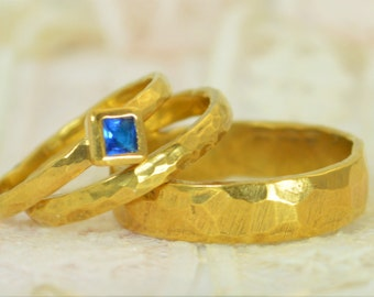 Square Blue Zircon Engagement Ring, 14k Gold, Blue Zircon Wedding Ring Set, Rustic Wedding Ring Set, December Birthstone, Solid Gold