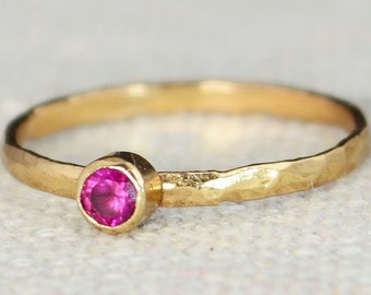Classic Rose Gold Filled Ruby Ring, solitaire, solitaire ring, rose gold filled, July Birthstone, Mothers Ring, gold band, Pink Ring