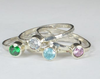 Grab 4- Small Silver Mothers Rings, Mother's Ring, Grandmas Rings, Mommy Ring, Mothers Jewelry, Gift for Mom, Grandma's Ring