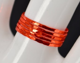 Super Thin Orange Silver Stackable Ring(s), Orange Ring, Stack Rings, Orange Stacking Rings, Orange Jewelry, Thin Orange Ring, Orange, Band