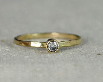 Classic 14k Gold Filled CZ Diamond Ring, Gold solitaire, solitaire ring, 14k gold filled, April Birthstone, Mothers Ring, gold band, yellow