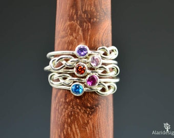 Grab 5 Silver Infinity Mother's Rings, Infinity Ring, Stacking Mothers Ring, Infinity Knot Ring, Mother's Gemstone Ring, Silver Knot Ring