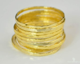 Super Thin Golden Silver Stackable Ring(s), Thin Gold Ring, Gold Stack Rings,  Gold Stacking Rings, Stackable Gold Ring, Gold Midi Ring