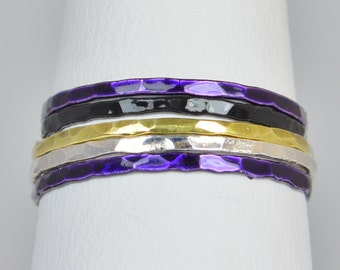 Baltimore Ravens Team Color Ring Set, Sterling Silver, Ceramic Color, Sports Inspired Colors, Stacking Ring Set, Dainty Rings, Team