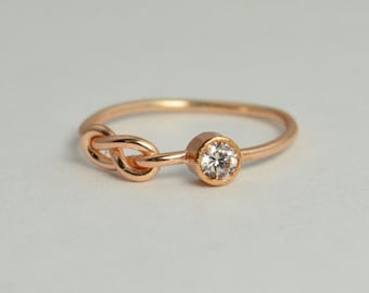 14k Rose Gold CZ Diamond Infinity Ring, 14k Rose Gold, Stackable Rings, Mothers Ring, April Birthstone, Rose Gold Infinity, Rose Gold Knot