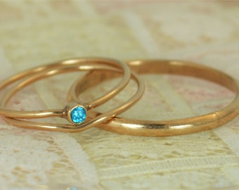 Tiny Blue Topaz Ring Set, Solid 14k Rose Gold Wedding Set, Stacking Ring, Solid 14k Gold Ring, December Birthstone, Bridal Set, Blue Topaz