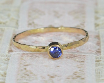 Sapphire Engagement Ring, 14k Gold, Sapphire Wedding Ring Set, Rustic Wedding Ring Set, Natural Sapphire Ring, Solid 14k Sapphire  Ring