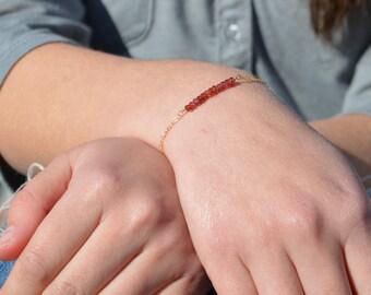 Garnet Bracelet, Danity Stacking Bracelet, 14k Gold Fill, Sterling Silver, Rose Gold, Red Bracelet, Garnet, Bar Bracelet, Gold Bracelet