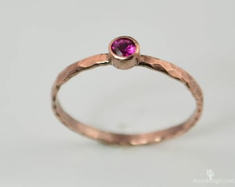 Copper Ruby Ring, Classic Size, Stackable Rings, Ruby Mother's Ring,  July Birthstone Ring, Copper Jewelry, Ruby Ring, Hammered Copper Ring
