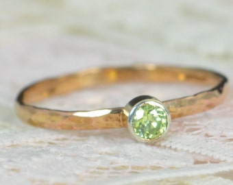 Peridot Engagement Ring, 14k Rose Gold, Peridot Wedding Ring Set, Rustic Wedding Ring Set, August Birthstone, Solid 14k Peridot Ring