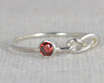 Garnet Infinity Ring, Silver Knot Ring, Stack Ring, Infinity Ring, Garnet Ring, Stacking Ring, Mother's Ring, Mothers Ring, Thin Silver Ring