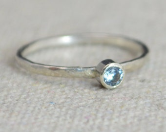 Classic Sterling Silver Aquamarine Ring, Silver Solitaire, Solitaire, Silver Jewelry, March Birthstone, Mothers Ring, Sterling Silver Band