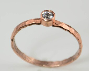 Copper CZ Diamond Ring,Classic Size, Stackable Rings, Mothers Ring, Aprils Birthstone, Copper Jewelry, CZ Diamond Ring, Pure Copper Ring